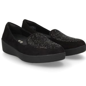 New Fitflop Sneakerloafer Flat Black Sparkly suede
